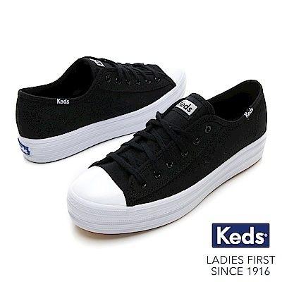 Keds TRIPLE KICK 女款黑色復刻厚底綁帶休閒鞋-NO.9184W132576