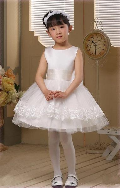 俏魔女美人館出租禮服女童公主裙兒童婚紗禮服大童花童蓬蓬裙冬季白色禮服裙童裝