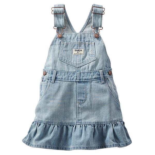 Carter's OshKosh B'gosh美國童裝牛仔吊帶裙背帶裙短裙荷葉邊淺藍色6M 9M 12M 18M 24M