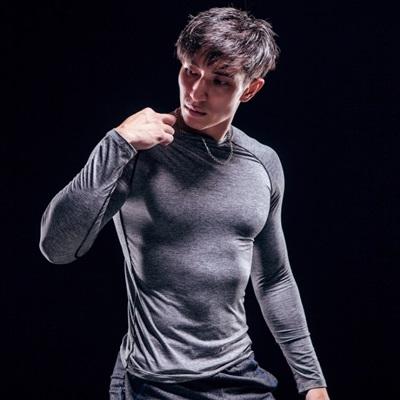 健身緊身衣-速乾透氣戶外跑步男長袖運動服73np6時尚巴黎
