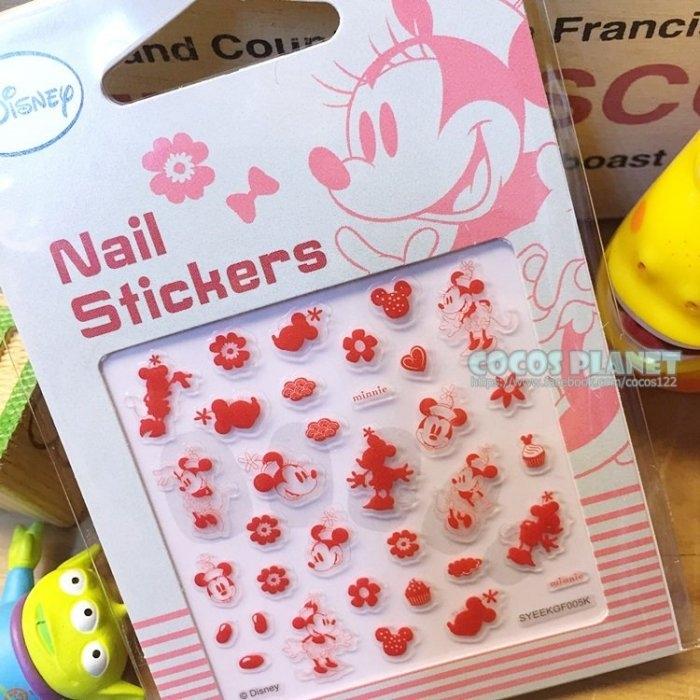 迪士尼指甲貼米老鼠米妮粉色美甲貼指甲貼紙指甲貼彩繪貼紙COCOS PF033