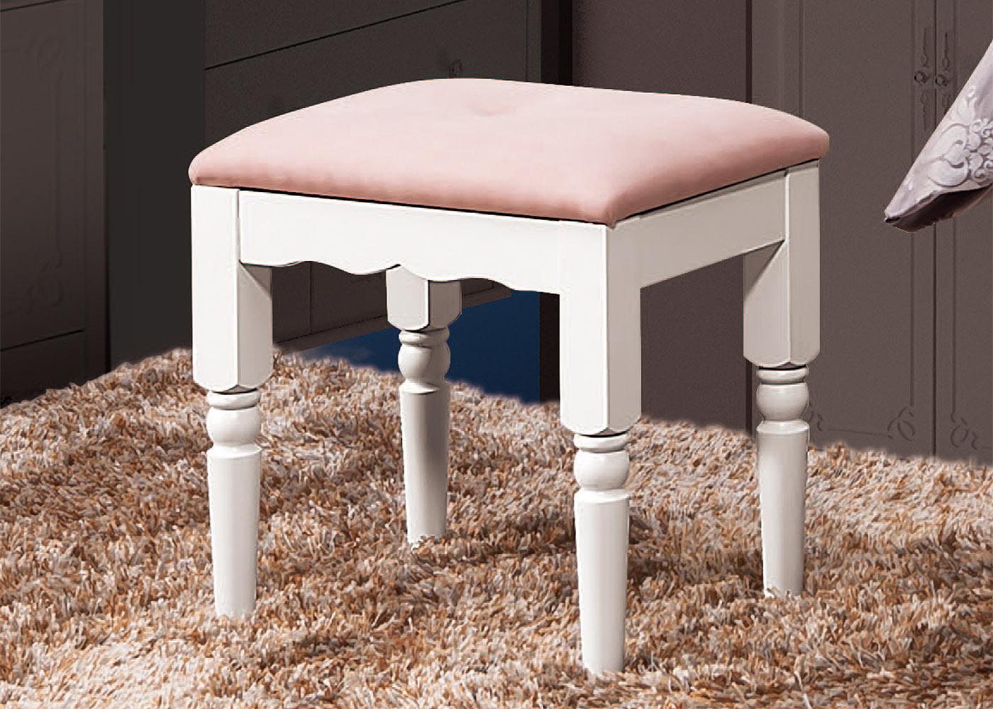 森可家居卡蜜拉白色化妝椅布面6ZX442-9粉紅法式鄉村風