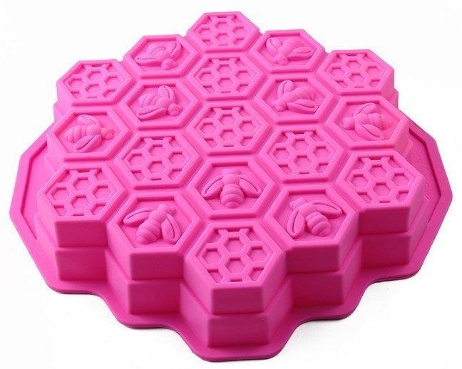 心動小羊^^心動小羊^^蛋糕19孔超大蜜蜂烤盤,蜜蜂皂特級矽膠模具 矽膠手工皂模 土司模