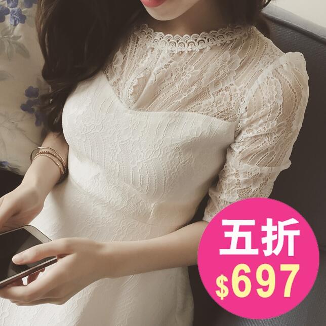 洋裝 韓版秋冬蕾絲長袖連身裙 小禮服 花漾小姐【預購】