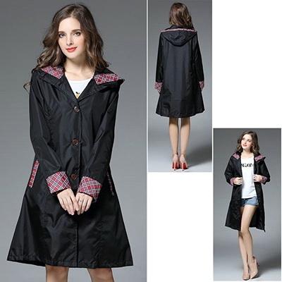 雨衣日系雨衣可愛收腰修身輕薄連帽長版雨衣03R0005