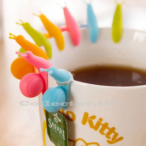 【N15010601】可愛蝸牛茶包掛 矽膠杯子區分夾