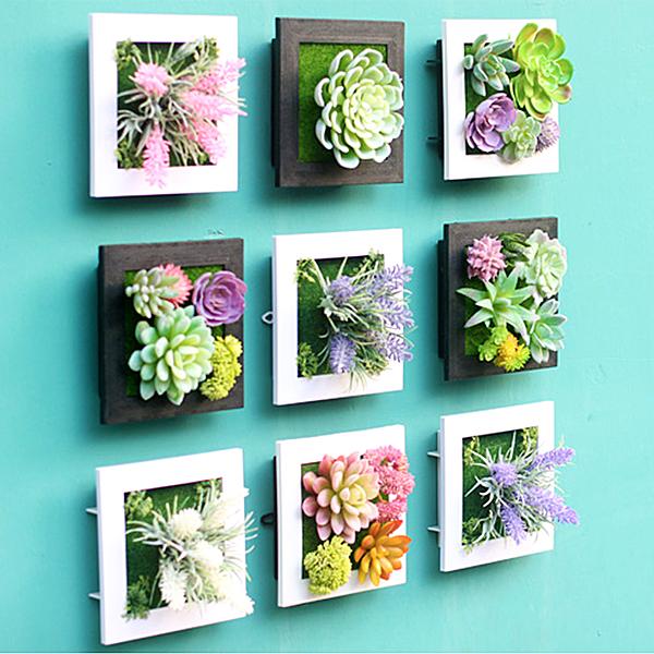 生活夯貨2件55折BlueCat 3D立體仿真多肉植物人造草盆栽牆飾掛飾相框壁飾壁掛