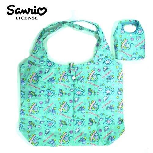 粉綠款日本進口雙子星KIKILALA摺疊購物袋環保袋手提袋防潑水三麗鷗Sanrio 437510