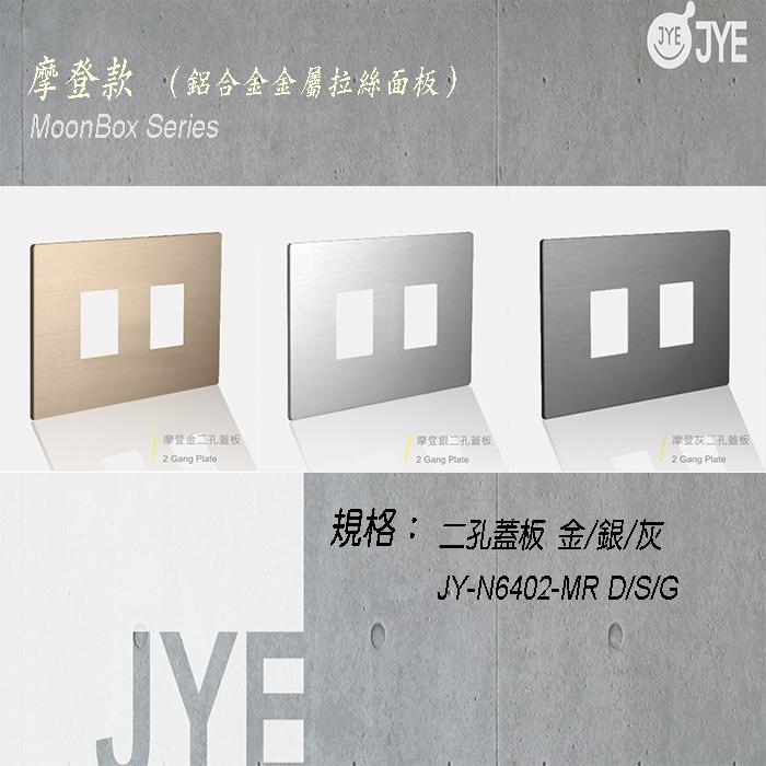中ㄧ 月光系列 摩登款開關切面板- 二孔蓋板 銀/灰/金 JY-N6402-MR