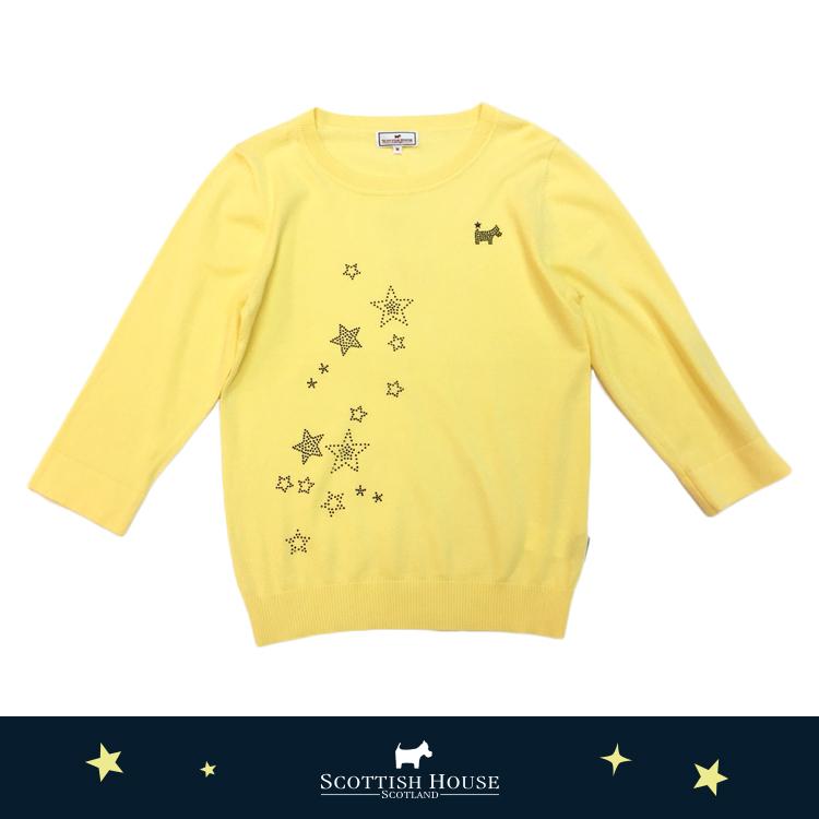 立體星星貼讚排列七分袖針織 Scottish House【AJ1496】