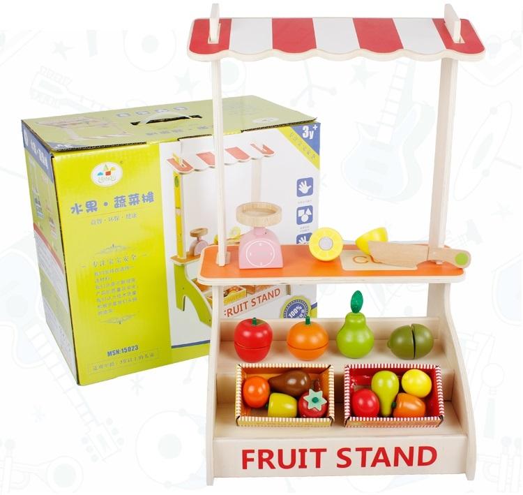 最新款~實木製~高仿真蔬菜水果攤~水果切切樂~品質超優~仿真家家酒玩具*粉粉寶貝玩具