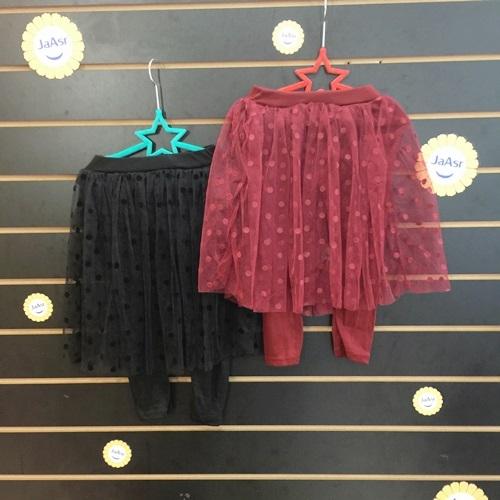 ☆棒棒糖童裝☆(41549)秋冬女童普普風紗裙裙褲  5-15  黑;紅