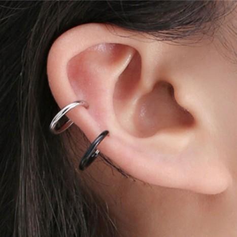 Mini style耳環歐美極簡細小圈圈單個韓版時尚無耳洞耳夾鼻環圓圈簡約個性