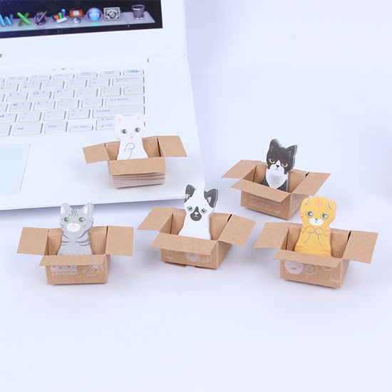 ♚MY COLOR♚ 可愛紙箱貓咪N次貼 便利貼 學生用品 設計 辦公用品 便簽貼 創意【P128】