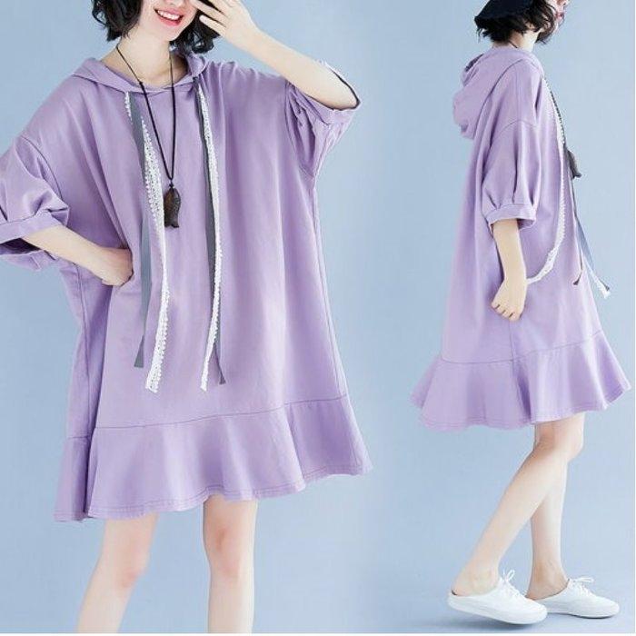 漂亮小媽咪 文藝 泡泡袖 洋裝【D5269】 韓系 七分袖 洋裝 純色 魚尾裙 連衣裙 孕婦洋裝