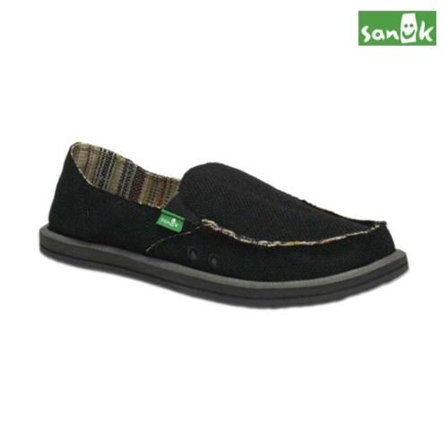 SANUK素面麻布內條紋懶人鞋-女款SWF1160 BLK黑色