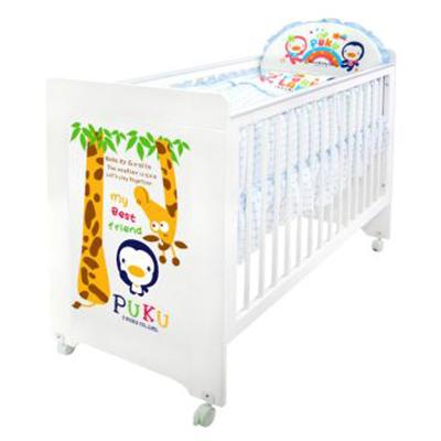 佳兒園婦幼館Puku藍色企鵝嬰兒白床七件式寢具組