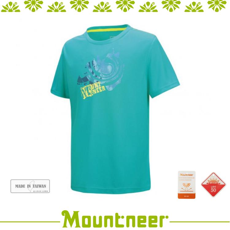 【Mountneer 男 透氣排汗印花上衣《湖水綠》】21P07/運動上衣/T恤/休閒服/抗UV