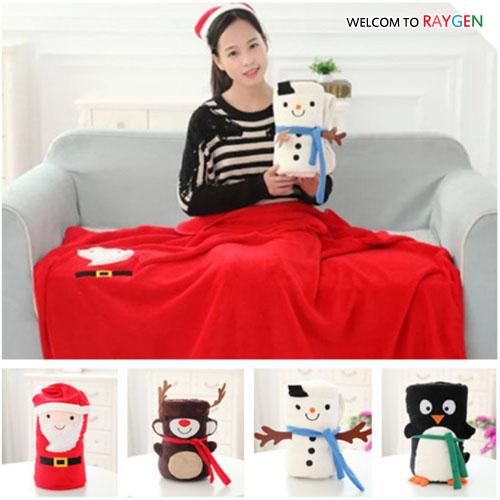 聖誕老人麋鹿雪人企鵝造型毛毯 抱毯 空調毯