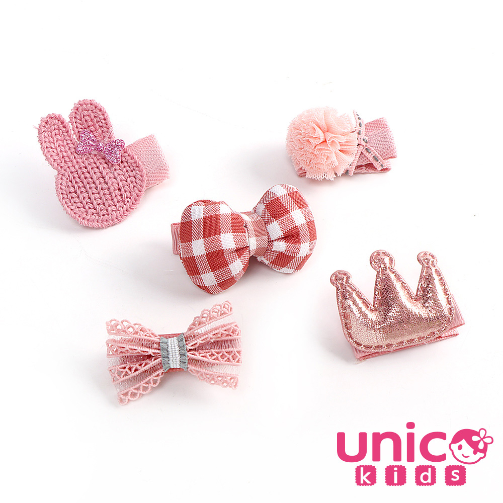 UNICO 韓國兒童髮飾粉系列全包布髮夾組-5入組