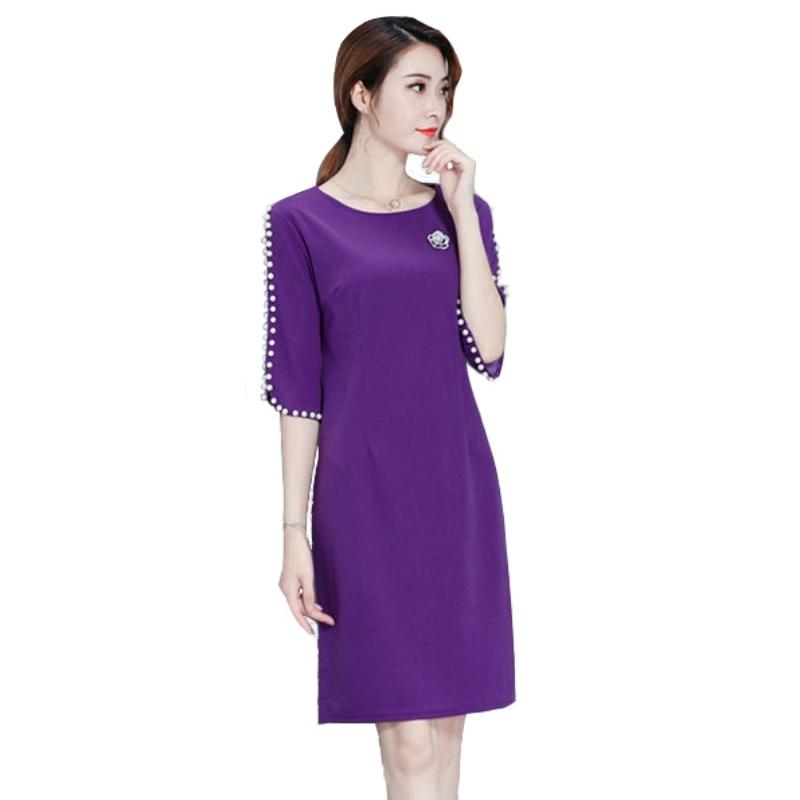 宴會 珍珠綴邊鏤空五分袖圓領洋裝 (紫  黑) 11950087