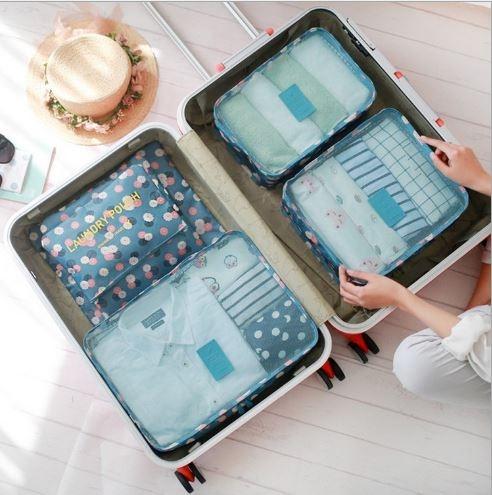 {丁果時尚}女包►韓式旅行六件組 行李箱壓縮袋旅行箱 旅行收納袋 包中包 收納袋7色