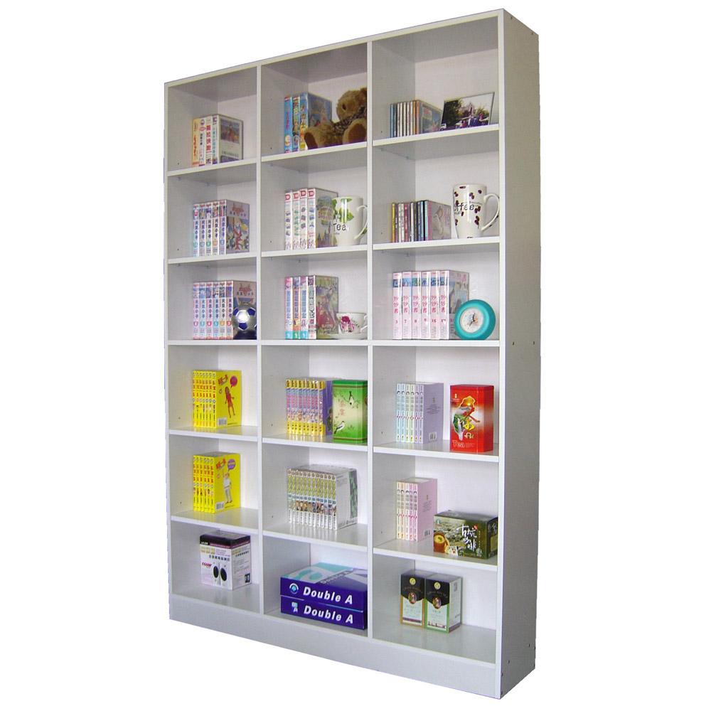 台灣製-120寬x180高-大型18格書櫃書架置物櫃收納櫃白色深胡桃色W318