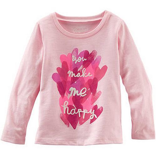 Carter's/OshKosh B'gosh 美國童裝 愛心 純棉T恤 長袖 粉紅色 12M 18M 24M