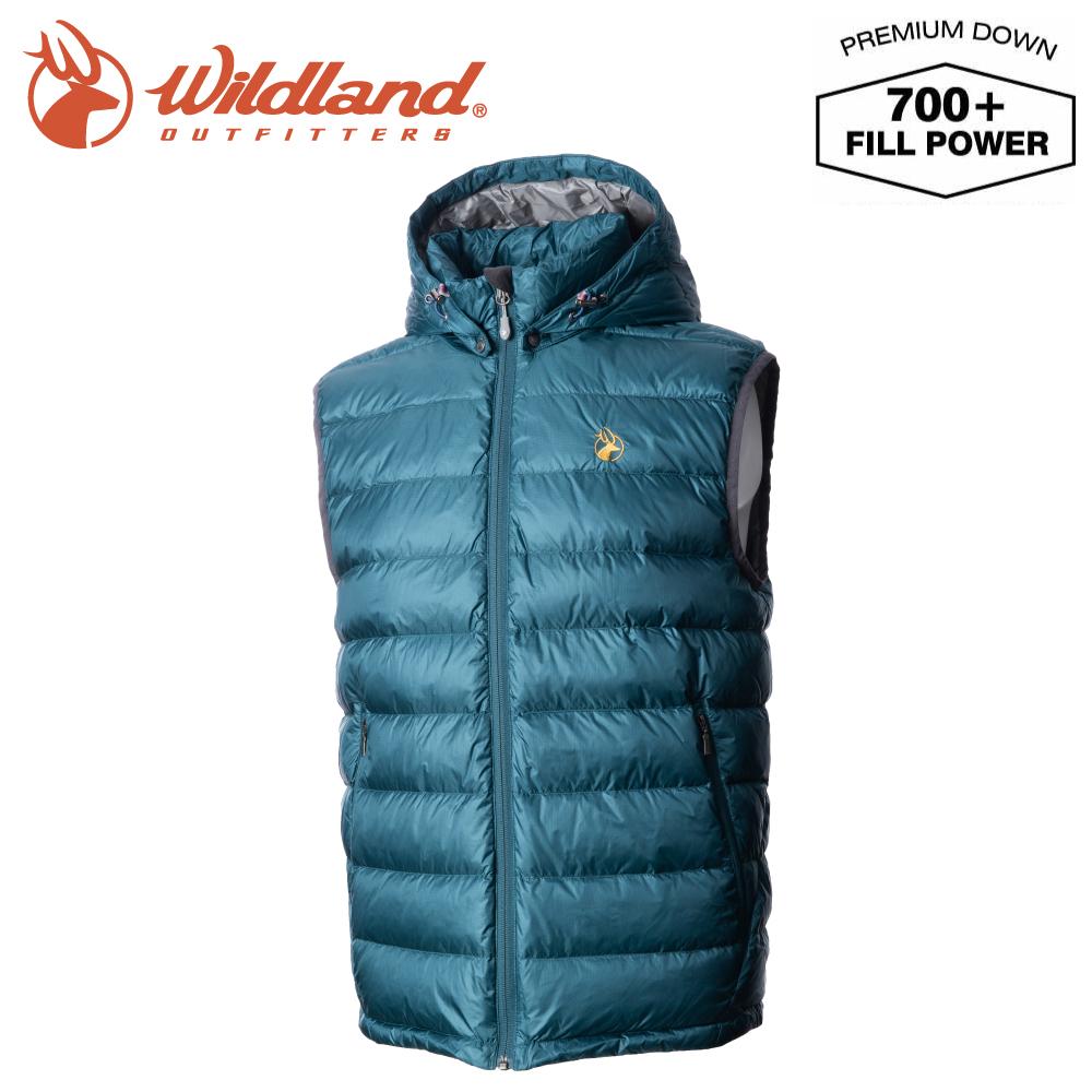 【Wildland 荒野 男 700FP拆帽極暖鵝絨背心《藍綠》】0A72172/輕量羽絨背心/保暖背心/防風禦寒
