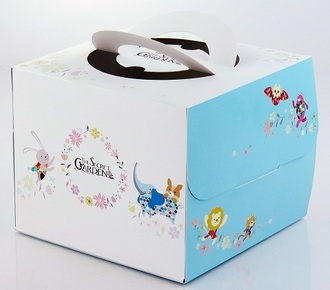 加高款 手繪風可愛動物 6吋蛋糕盒 附底托 外帶提盒