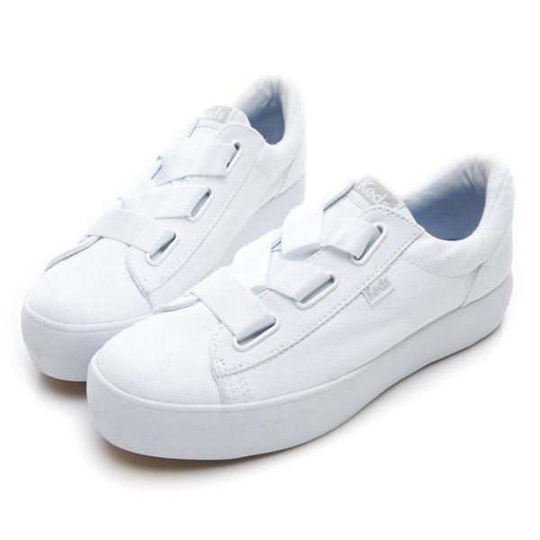 Keds TRIPLE CROSS 女款白色彈性鞋帶厚底休閒鞋-NO.9184W132586