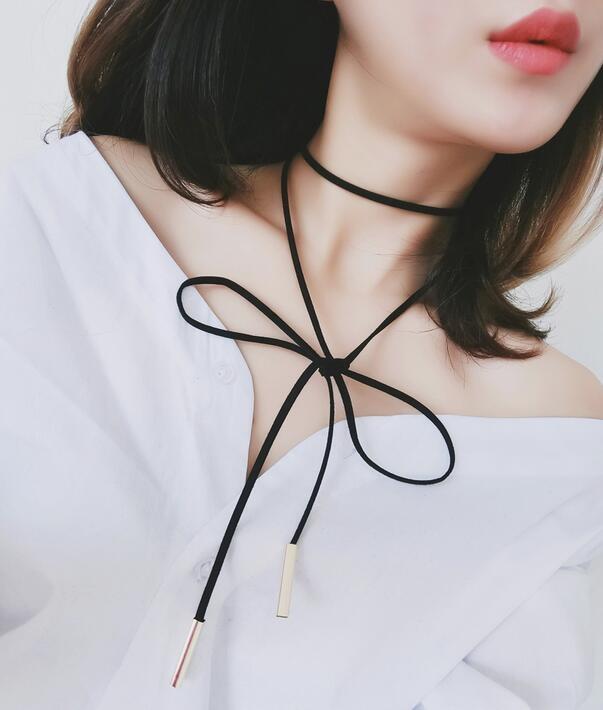 【TT】韓國簡約性感可愛女生蝴蝶結多層系帶黑色項圈項鍊頸鏈頸帶