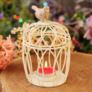 家居裝飾工藝品鳥籠燭台 古典白色鐵藝小鳥燭台夜鶯鳥籠方形
