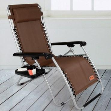 LIFECODE特斯林透氣無限段折疊躺椅-附置物杯架-咖啡色