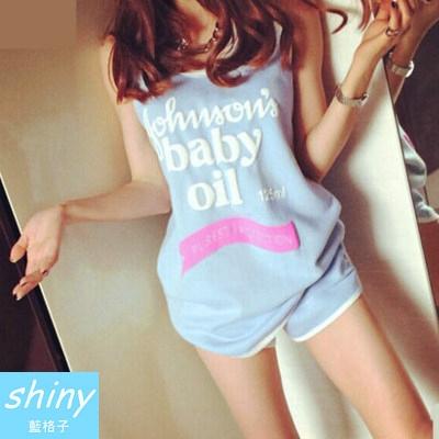 【V8048】shiny藍格子-活力甜心.英文字母圓領無袖上衣+短褲兩件式套裝