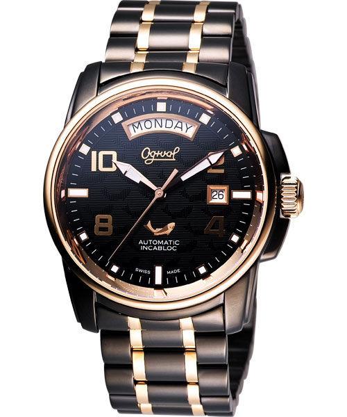 Ogival 愛其華 黑鷹系列因加百錄機械腕錶-IP黑/金 3360AMBR