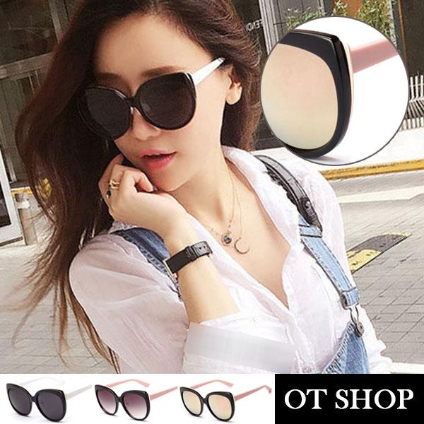 OT太陽眼鏡‧韓國鼻墊加高不貼臉UV400太陽眼鏡顯小臉圓框貓眼‧亮黑白腳/玫瑰粉反光‧N07