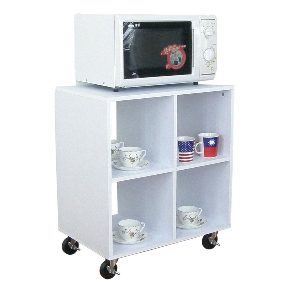 60公分(寬)四方格[活動輪]置物櫃 電視櫃 電器櫃 茶几(素雅白色)W60ACW4-WH