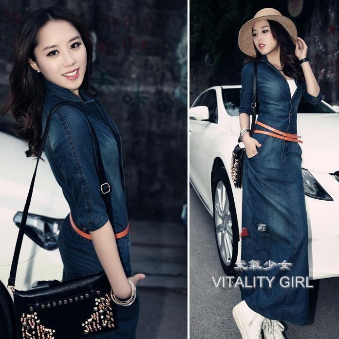 新款韓版修身顯瘦V領大碼包臀中長款中袖牛仔裙元氣少女