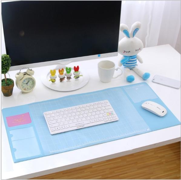 大尺寸雙層收納辦公桌墊 超大電腦墊 辦公桌墊 清新多功能超大電腦墊 PVC防水墊 滑鼠墊 桌墊