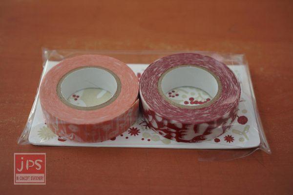 日本倉敷意匠和紙膠帶-松鼠森林小花15mm兩卷入紅色F款