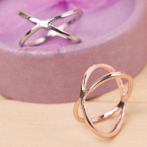 [Ministyle] 韓國 無限大 氣質 食指 指環 百搭 飾品 女 X交叉 立體 鏤空 戒指 環繞 大熱款 搭配 關節