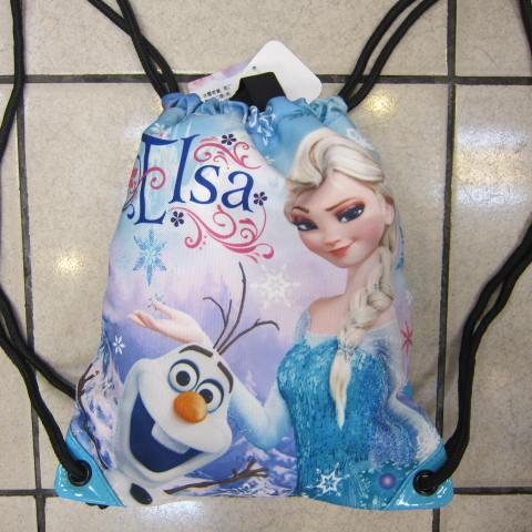 雪黛屋~冰雪奇緣束口後背包正版授權公司防水帆布郊遊小背包成人兒童均適用XEN0006藍-艾莎雪寶