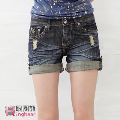 短褲--細身輪廓反摺刷破星星字母低腰牛仔短褲(M-6L)-R36眼圈熊中大尺碼