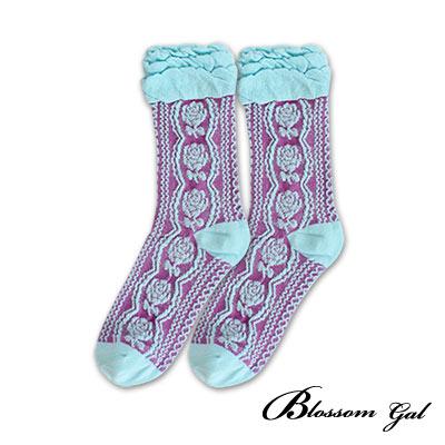Blossom Gal古典玫瑰刺繡層層雲朵短襪造型女襪共4色