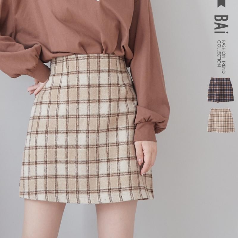 褲裙 配色方塊毛呢料後拉鍊A字短裙S-L號-BAi白媽媽【191229】