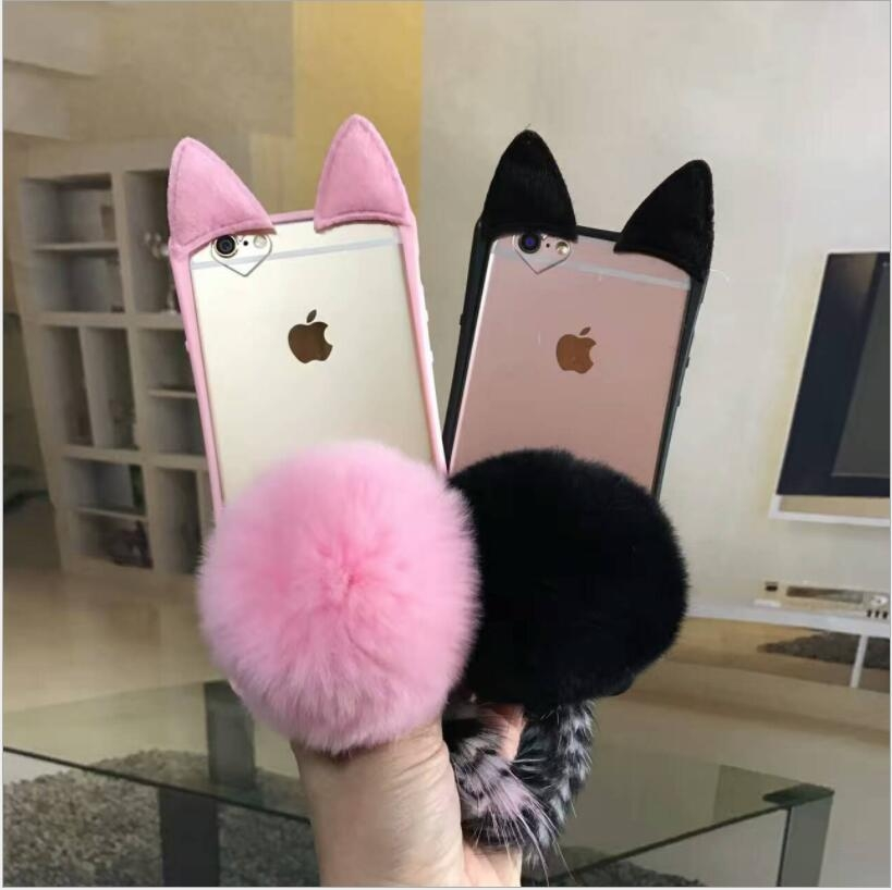 爆款iphone 6 6s 7 8 PLUS獺兔毛球蘋果手機殼貓咪貓尾巴愛心孔保護