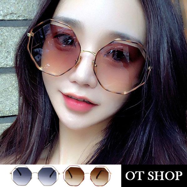 OT SHOP太陽眼鏡‧韓風明星款 顯小臉特大框多邊形墨鏡 金屬雙層細框 漸層鏡面 黑色/茶色 U115
