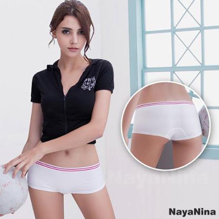 玩色撞色彩條無縫低腰平口褲S-XL白運動褲睡褲安全褲發現生活