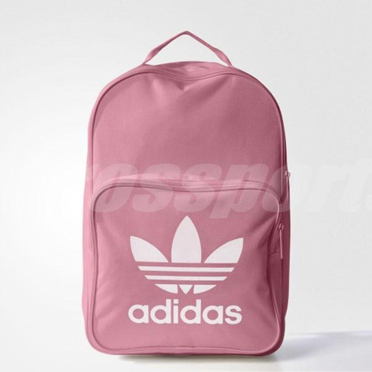 adidas後背包Tricot Classic Backpack三葉草Logo粉紅白女款包包基本款PUMP306 BK6725